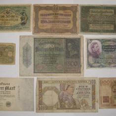 Colectie 9 bancnote Europa Germania Ucraina 1916 - 1951