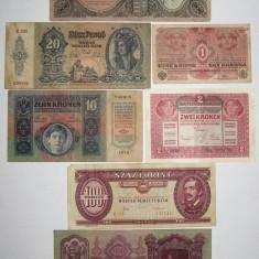 Colectie 7 bancnote Austria Ungaria 1915 - 1984, Europa