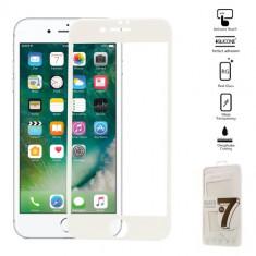 Folie Sticla Securizata iPhone 7 Plus pentru tot ecranul - Alba
