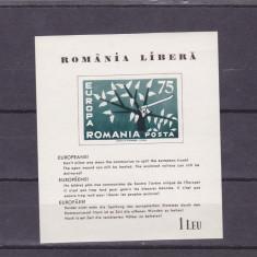 EXIL ROMANIA,EUROPA CEPT 1962,BLOC NEDANTELAT ,NEUZAT.