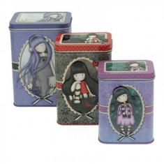 Set 3 cutii metalice Gorjuss Dear Alice, The Collector, Little Song. - Cartela Cosmote