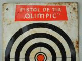 ȚINTĂ DE JUCĂRIE VECHE - PISTOL DE TIR OLIMPIC - FĂCUTĂ DIN TABLĂ, ANUL 1967!