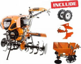 Motosapatoare Ruris 1001KSD ACC + roti cauciuc + plug reversibil Rev2 + dispozitiv plantat si fertilizat cartofi