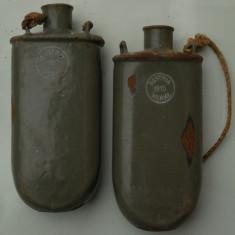 LOT 2 BIDONAȘE MILITARE VECHI WWI, AUSTRIA WERKE - 1915 ȘI 1917, TABLĂ EMAILATĂ!