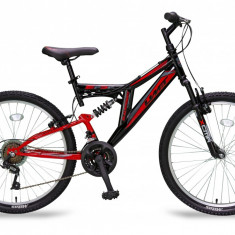 "Bicicleta MTB Full Suspensie Umit BlackMount, Culoare Negru/Rosu , Roata 24""PB Cod:2429000000, 21"
