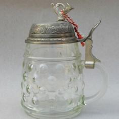 MUSIC BOX - Halba de bere din sticla prevazuta cu cutie muzicala in capac BMF