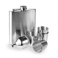 Set Sticlă Plată din Oțel cu Accesorii (7 piese) - Borcan