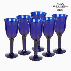 Pahare din Sticlă Reciclată (6 pcs) 350 ml Albastru - Crystal Colours Kitchen Colectare by Bravissima Kitchen - Suport pahare