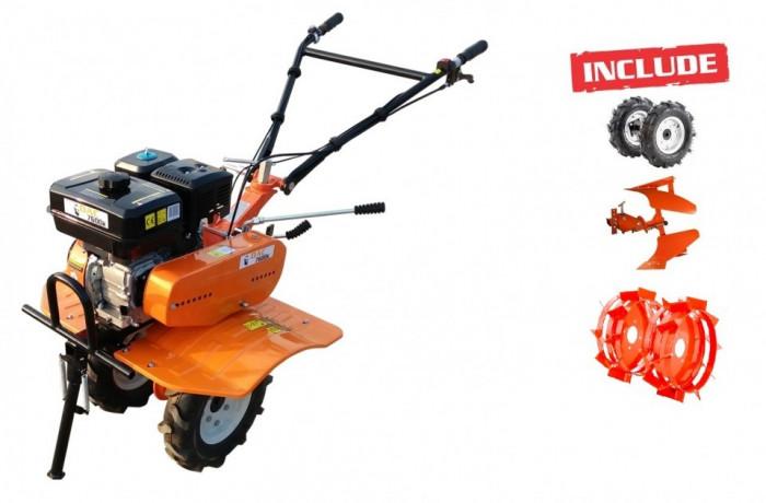 Motosapa Ruris 7600K + roti cauciuc + roti metalice 400 fara manicot + plug reversibil Rev1 foto mare