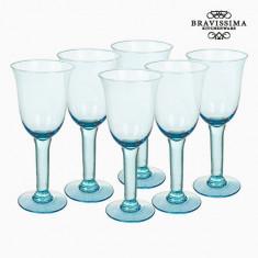 Pahare din Sticlă Reciclată (6 pcs) 500 ml Albastru - Crystal Colours Kitchen Colectare by Bravissima Kitchen - Suport pahare