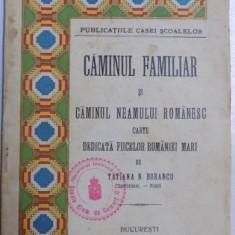 CAMINUL FAMILIAR SI CAMINUL NEAMULUI ROMANESC, CARTE DEDICATA FIICELOR ROMANIEI MARI de TATIANA N. BOBANCU 1926
