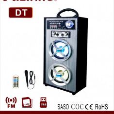 NOU! SISTEM BOXA ACTIVA KARAOKE,AFISAJ,RADIO,BLUETOOTH,ACUMULATOR,MICROFON,MP3.