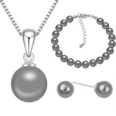 Set bijuterii cu perle Grey Pearls