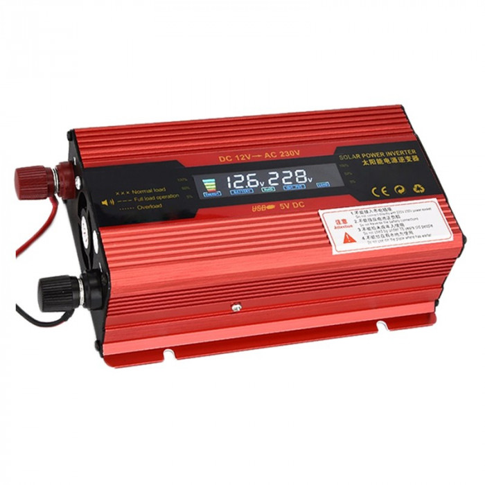 Invertor de tensiune Solar 12-230V, 500 W, display digital