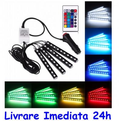 Kit Complet AUTO interior LED 4 Benzi + telecomanda - 22cm AL-080817-21 foto