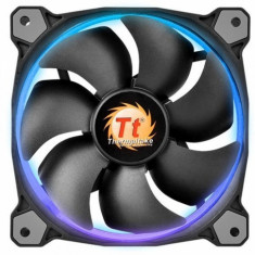 Kit 3 ventilatoare si fan controller Thermaltake Riing 12 High static pressure, 120 mm, iluminare LED RGB - Cooler PC