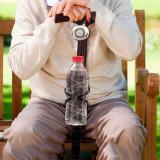 Baston din Lemn cu Clopoţel şi Suport pentru Sticlă