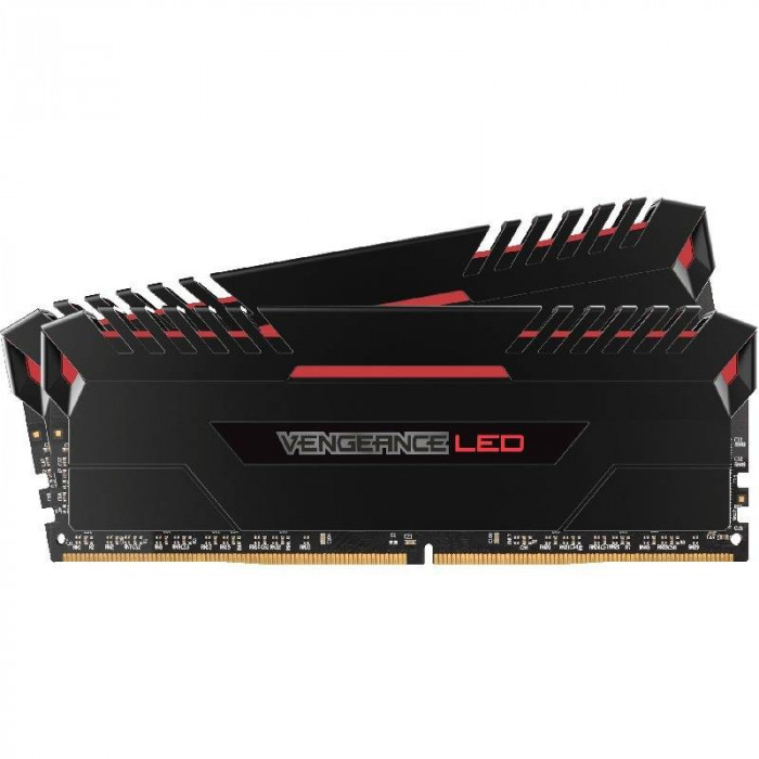 Memorie Corsair Vengeance Red LED 32GB DDR4 3200MHz CL16 Dual Channel Kit foto mare