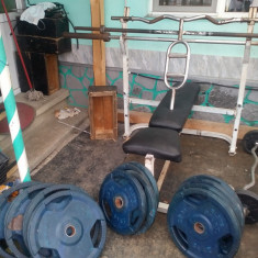 Discuri olimpice /4, 25kg/4, 20kg/6, 15kg/+4bari/+banca piept/+aparat abdomen - Aparat multifunctionale fitness