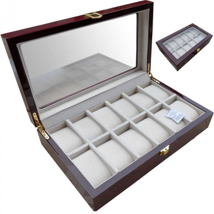 RESIGILATA Cutie depozitare 12 ceasuri din lemn
