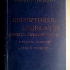 Repertoriul legislatiei Republicii Socialiste Romania 01 01 1988 LEGI SI DECRETE