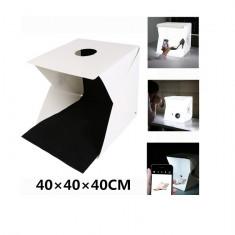 Lightbox portabil 40cm - cub foto cu led incorporat pentru fotografie de produs