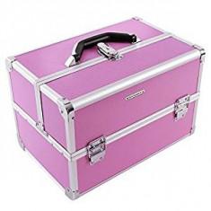 Geanta de transport roz, pentru cosmetice Songmics