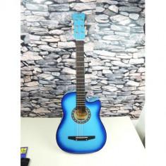 Chitara acustica pentru incepatori culoare albastru