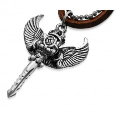 Pandantiv sabie cu aripi de inger snur piele maro si lant militar