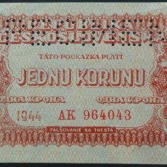 Bancnota 1 KORONU- CEHOSLOVACIA OCUPATIE SOVIETICA, 1944*cod 227 SPECIMEN - UNC - bancnota europa