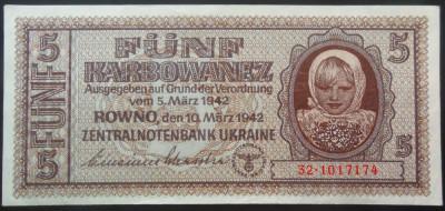 Bancnota 5 Karbowanez - UCRAINA GERMANIA NAZISTA, anul 1942 *cod 212 A.UNC+++ foto