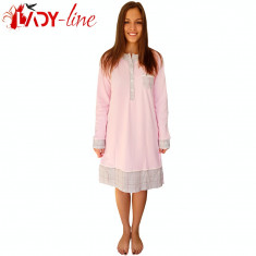 Camasa de Noapte Maneca Lunga Bumbac 100%, Elegant Pinkie Pie, Cod 1588, Marime: S, M, Culoare: Roz