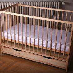 Patut Bebe din lemn masiv cu saltea inclusa, 120x60cm, Altele