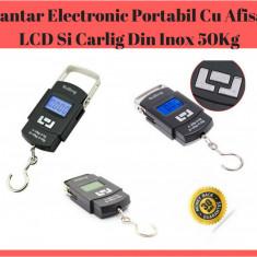 Cantar Electronic Portabil Cu Afisaj LCD Si Carlig Din Inox 50Kg