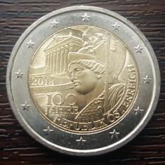 (M270) MONEDA AUSTRIA - 2 EURO 2018, 100 ANI DE LA INFIINTAREA REPUBLICII, Europa