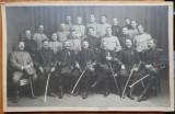 Fotografie militara , ofiteri romani la manevrele din 1912 , pe carton gros