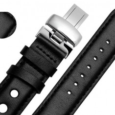 Curea ceas neagra cu gauri si deployant 20mm WZ1089