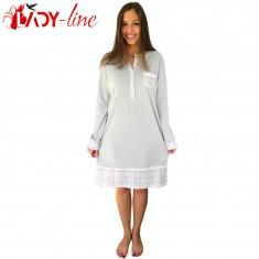 Camasa de Noapte Maneca Lunga Bumbac 100%, Elegant Simplicity, Cod 1599, Marime: S, M, L, Culoare: Gri