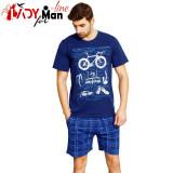 Pijama Barbati Maneca/Pantalon Scurt, Model Swim, Bike & Run, Vienetta, Cod 1690