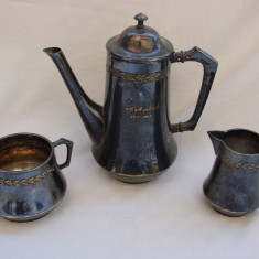 Set ceainic, zaharnita si letiera marca WMF in stil Art Deco, anul 1923