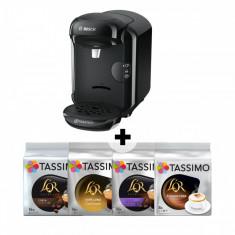 Pachet promo: Espressor + 12 cutii capsule L'or, Bosch Tassimo Vivy II TAS1402, 1300w, 3.3 bar, 0.7l, autocuratare si decalcifiere, capsule, Negru - Cafetiera