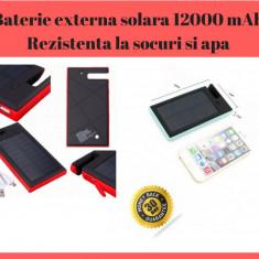 Baterie externa Power Bank Solara 12000 mAh - Rezistenta La Socuri, Praf Si Apa