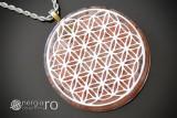 Pandantiv Orgonic Orgon Magnetic Floarea Vieții cu Cristale de Cuarț
