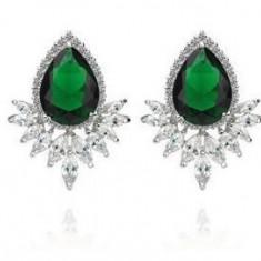 Cercei Borealy Smarald Diamond Grammy Pear Marquise - Cercei placati cu aur
