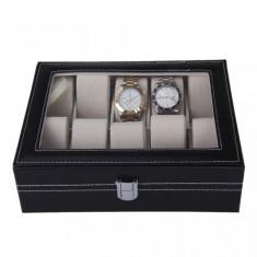 Cutie pentru 10 ceasuri din piele ecologica si depozitare