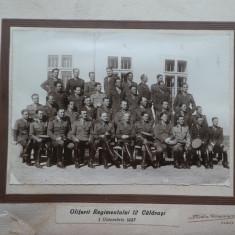 Foto pe carton ; Ofiterii Regimentului 12 Calarasi
