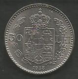 ROMANIA  50  LEI  1938  [1]   XF+++ ,  livrare in cartonas, Nichel