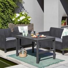 Masă pentru grădină LYON TABLE RATTAN, de culoare grafit - Masa gradina