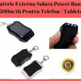 Baterie Externă Solara Tip Breloc Power Bank 1200mAh Pentru Telefon / Tableta