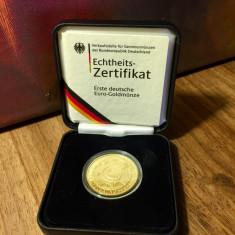 Moneda de aur - Germania 100 EURO 2002 Uniunea Monetara Europeana, Europa